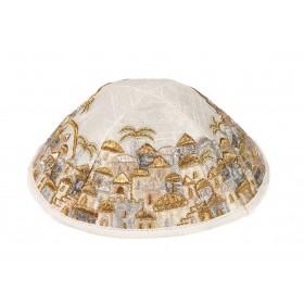 Kippah - Embroidered - Full Jerusalem - Silver + Gold
