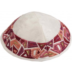 Kippah - Embroidered - Geometry Maroon