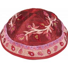 Kippah - Embroidered - Pomegranates - Maroon