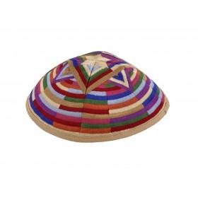Kippah - Embroidered- Large Magen David --Multicolor