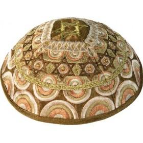 Kippah - Embroidered - Magen David - Gold