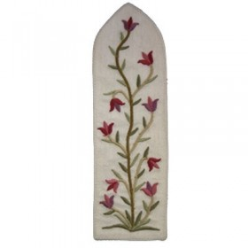 Bookmark - Embroidered - Flowers White