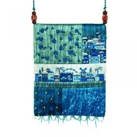 Bag - 5 Patches + Embroidery - Jerusalem - Blue