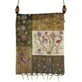 Bag - 5 Patches + Embroidery - Flowers - Gold