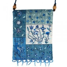 Bag - 5 Patches + Embroidery - Flowers - Blue