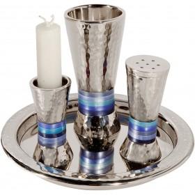Havdallah Set - Hammer Work - Rings - Blue