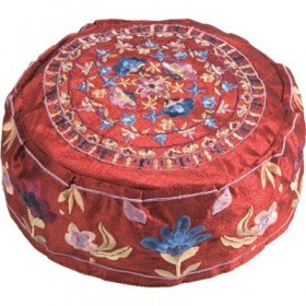 Hat  - Embroidered - Flowers maroon