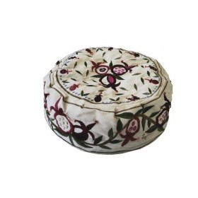 Hat  - Embroidered - Pomegranates White