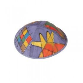 Silk Painted Kippah - Tribes - Multicolor