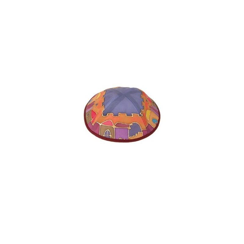 Silk Painted Kippah - Jerusalem - Multicolor