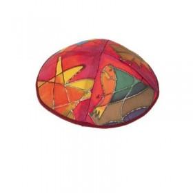 Silk Painted Kippah - Tribes - Maroon