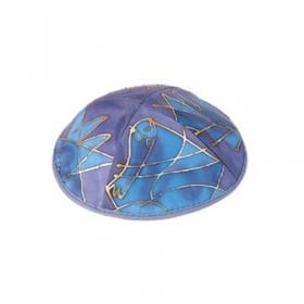 Silk Painted Kippah - Tribes - Blue