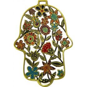 Hamsa - Etching - Flowers - Multicolor
