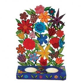 Candlesticks - Laser Cut - Painted - Flowers