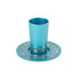 Kiddush Cup - Metal Cutout - Turquoise