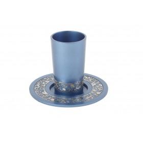 Kiddush Cup - Metal Cutout - Blue