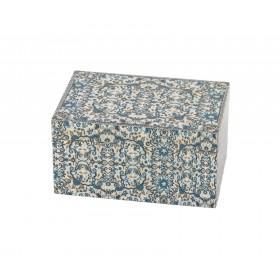 Medium Wooden Box - Pomegranates- Blue