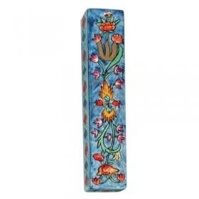 Large Wooden Mezuzah - Flowers Blue