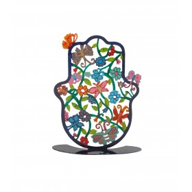 Small Hamsa - Stand- Hand Painted - Butterflies