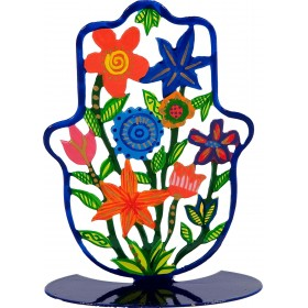 Small Hamsa - Stand - Hand Painted - Flowers