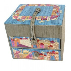 Embroidered Jewelry Box + Two Drawers - Jerusalem Gold