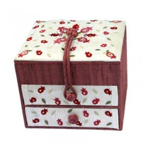 Embroidered Jewelry Box + Two Drawers - Pomegranates