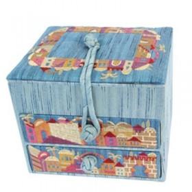 Embroidered Jewelry Box + Two Drawers - Jerusalem Blue