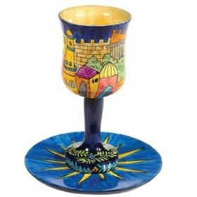 Kiddush Cup + Plate - Hand Painted on Wood - Oriental