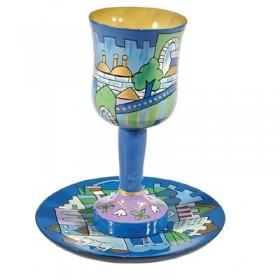 Kiddush Cup + Plate - Hand Painted on Wood - Jerusalem Blue