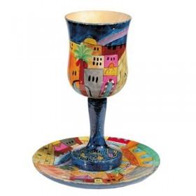 Kiddush Cup + Plate - Hand Painted on Wood - Jerusalem