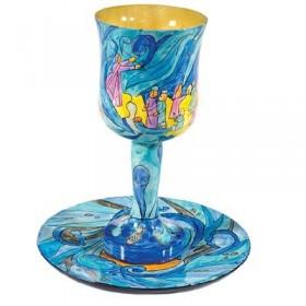 Kiddush Cup + Plate - Hand Painted on Wood - Exodus