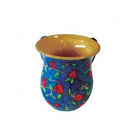 Small Netilat Yadayim Cup - Hand Painted on Wood - Pomegranates