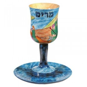Kiddush Cup + Plate - Hand Painted on Wood - Miriam`s Cup
