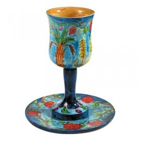 Kiddush Cup + Plate - Hand Painted on Wood - Seven Species
