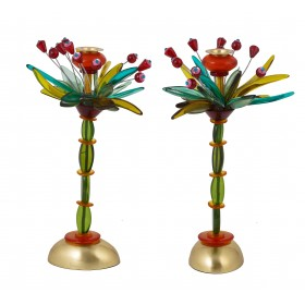 Candlesticks - Polyester - Fountain Green/ Red 36 CM