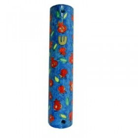 Small Wooden Mezuzah - Scattered Pomegranates