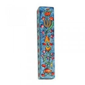 Small Wooden Mezuzah - Flowers Blue