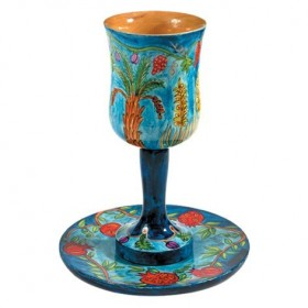 Large Kiddush Cup + Plate - Hand Painted on Wood - Seven Species