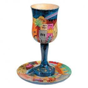 Large Kiddush Cup + Plate - Hand Painted on Wood - Jerusalem