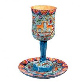 Large Kiddush Cup + Plate - Hand Painted on Wood - Deer