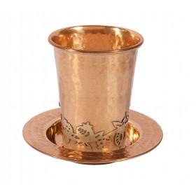 Copper Kiddush Cup - Hammer Work + Pomegranates