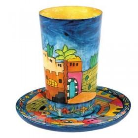 Kiddush Cup + Plate - Jerusalem