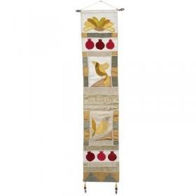 Long Wall Hanging - Shalom Hebrew - Gold