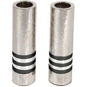Cylinder Candlesticks - Hammer Work + Rings - Black