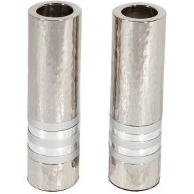 Cylinder Candlesticks - Hammer Work + Rings -Silver