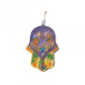 Small Glass Painted Hamsa - Menorah