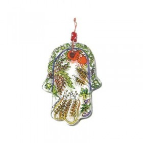 Small Glass Painted Hamsa - Seven Species