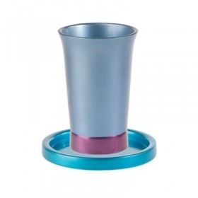 Kiddush Cup + Plate  - Turquoise + Blue