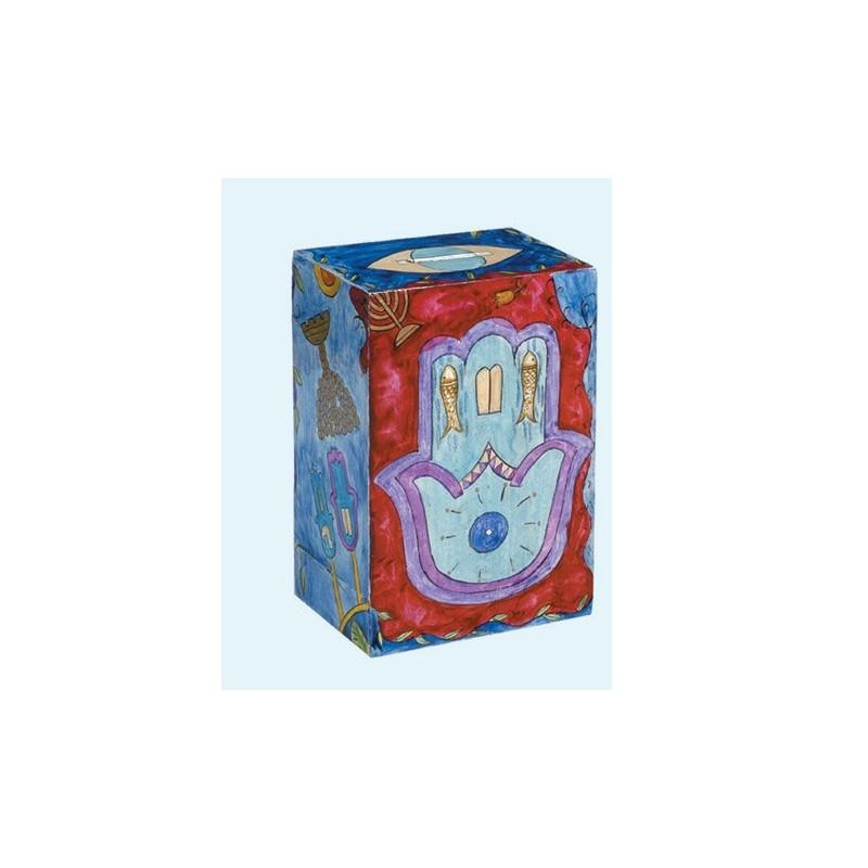 Rectangular Tzedakah Box - Hamsa