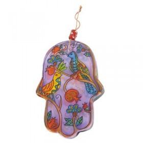 Glass Painted Hamsa - Birds